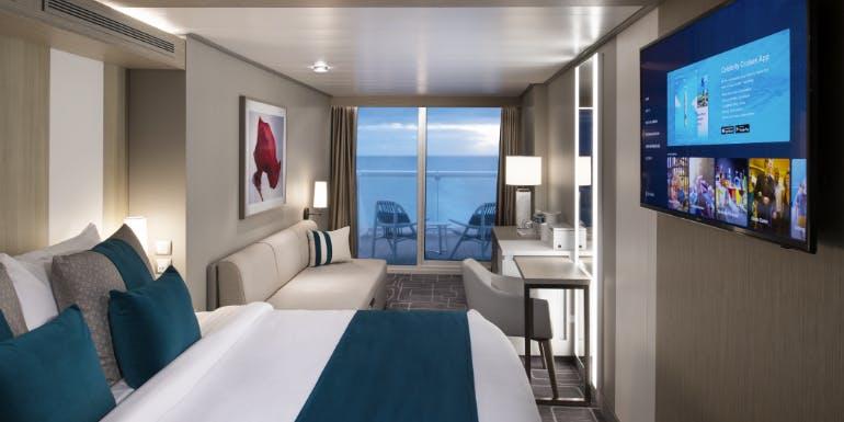 balcony veranda cabin bed stateroom cruise