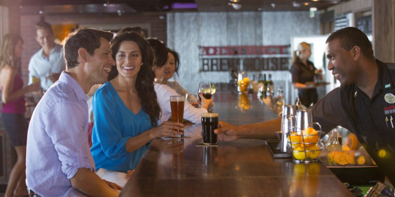 norwegian cruise district brewhouse bar service crew