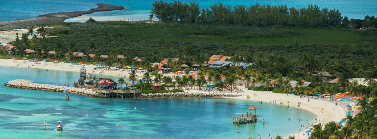 Which cruise line does NOT have its own private island?