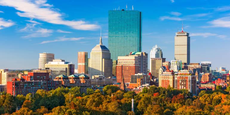 boston massachusetts autumn fall foliage skyline