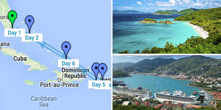 eastern caribbean itinerary cruise