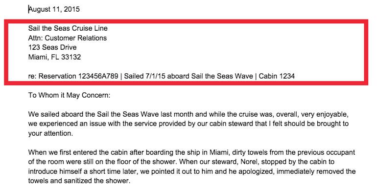 cruise complaint letter