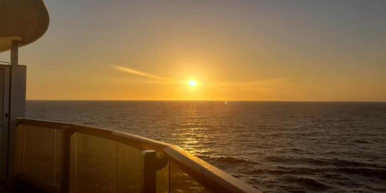 carnival vista wraparound balcony sunset at sea
