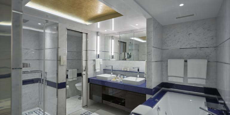 marble bathroom regent cruise construction facade