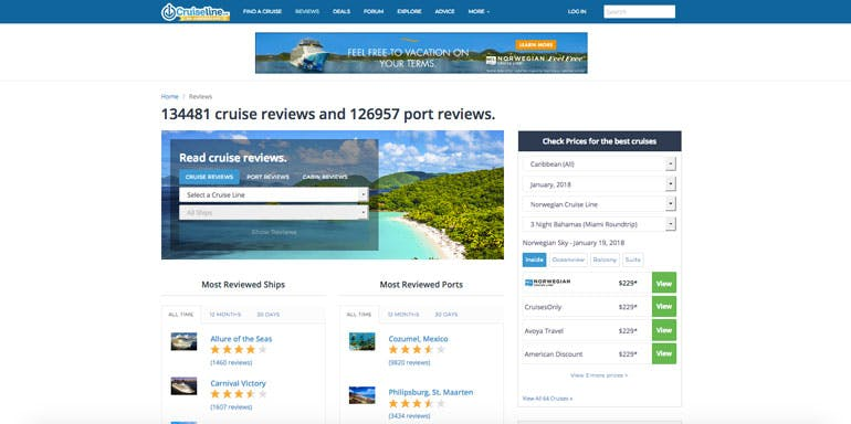 cruise reviews cruiseline.com