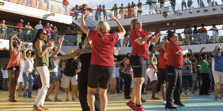 carnival cruise free deck party dancing