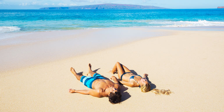 lazy couple cruise beach