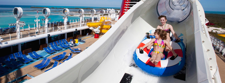 """Not content to add a regular water slide to its ships, this line introduced the world's only """"aqua coaster""""."""