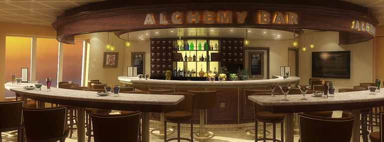 Grab a cocktail at the Alchemy Bar on this line: