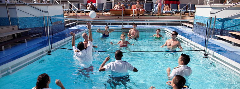Challenge the crew to a friendly game of volleyball in the pool in this line: