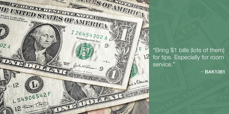 cruise packing tips one dollar bills