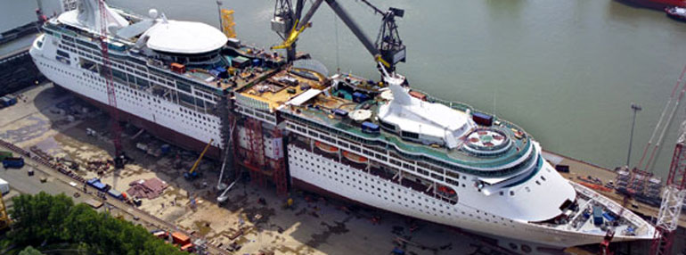 This Royal Caribbean ship was literally cut in half and extended with an entirely new section in 2005.