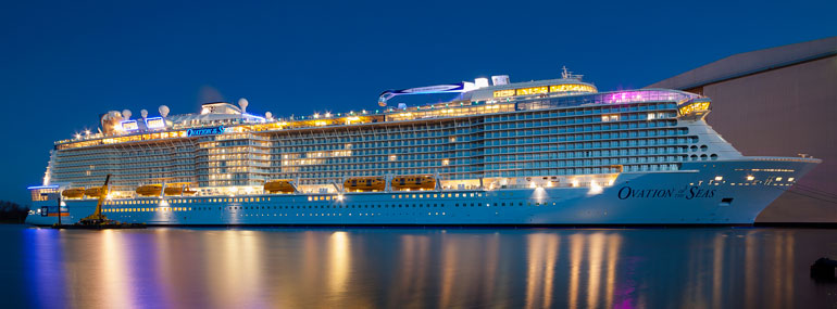 True / False: With the launch of Ovation of the Seas in April 2016 and Harmony of the Seas in June 2016, Royal Caribbean will have the six largest cruise ships in the world.
