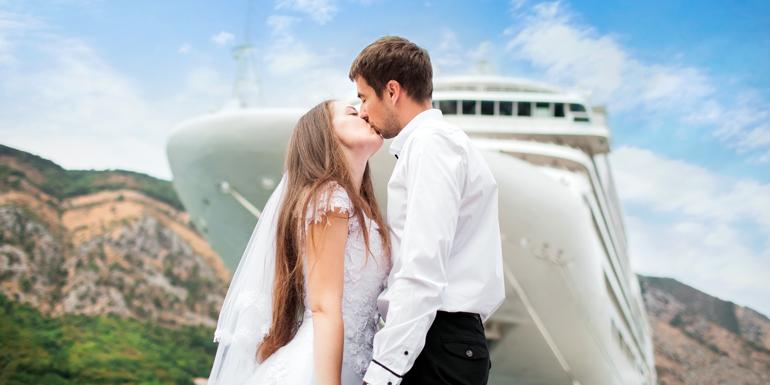 married cruise ship port wedding docked