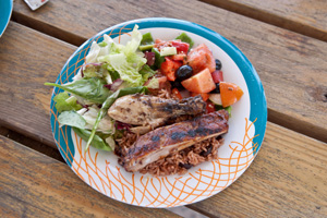 bbq lunch on wood table labadee haiti