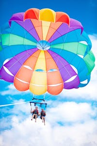 people parasailing in labadee haiti