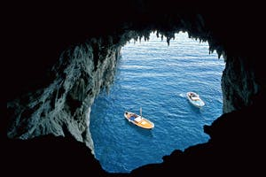 boats seen from the white grotto