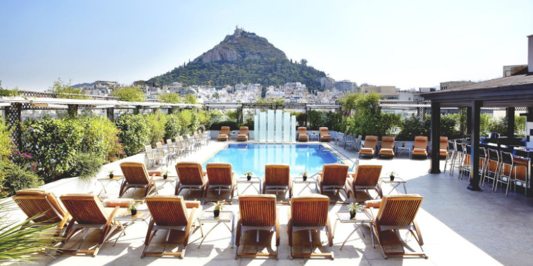 athens hotel grande pool acropolis greece