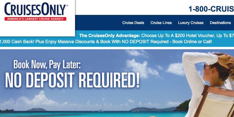 cruises only reduced cruise deposit money