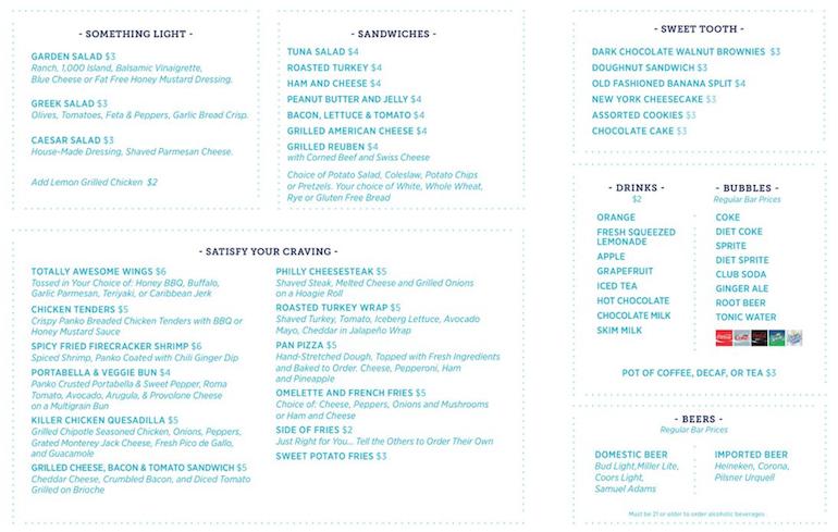 carnival cruise new room service menu
